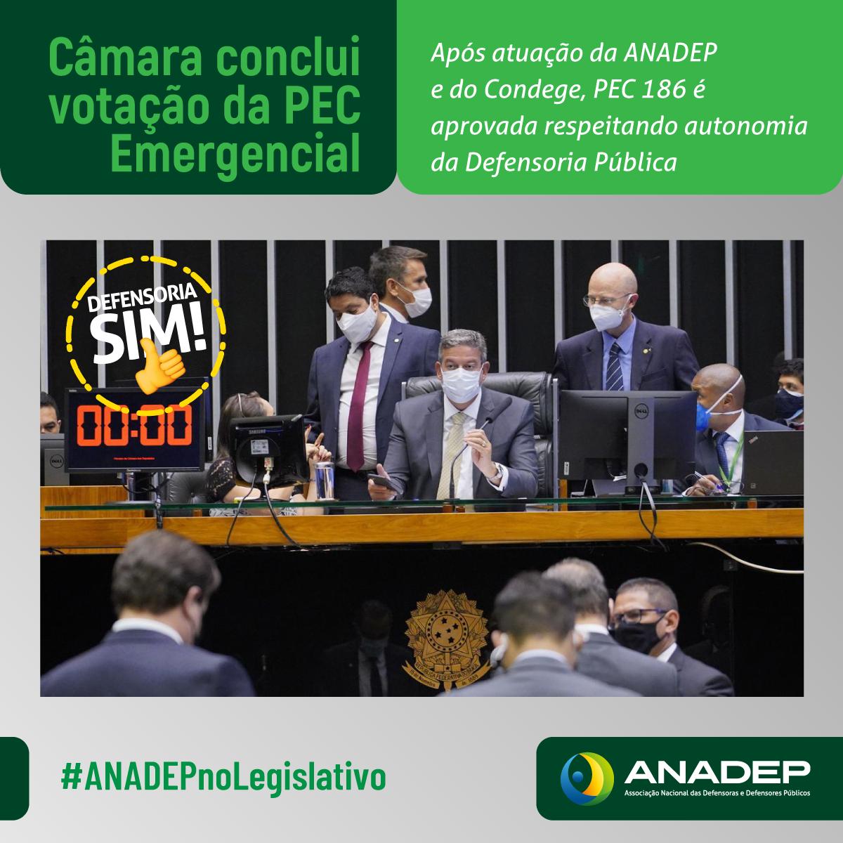 Após trabalho conjunto, PEC emergencial é aprovada na Câmara com autonomia da Defensoria Pública preservada